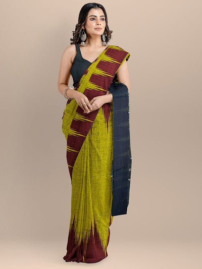 Yellow and Black Color Pure Cotton Solid Sambhalpuri Handloom Saree