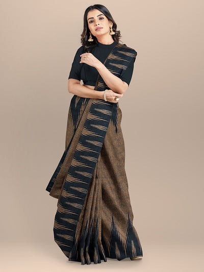 Brown and Black Color Pure Cotton Solid Sambhalpuri Handloom Saree