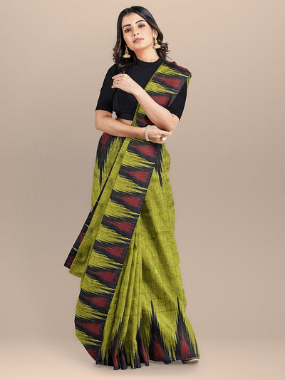 Green Color Pure Cotton Woven Desgin Sambhalpuri Handloom Saree