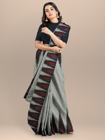 Grey and Black Color Pure Cotton Solid Sambhalpuri Handloom Saree