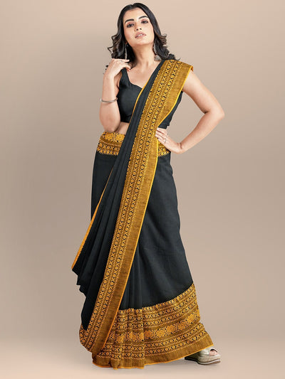 Black Color Pure Cotton Woven Design Sambalpuri Handloom Saree