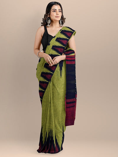 Green Color Pure Cotton Solid Sambhalpuri Handloom Saree