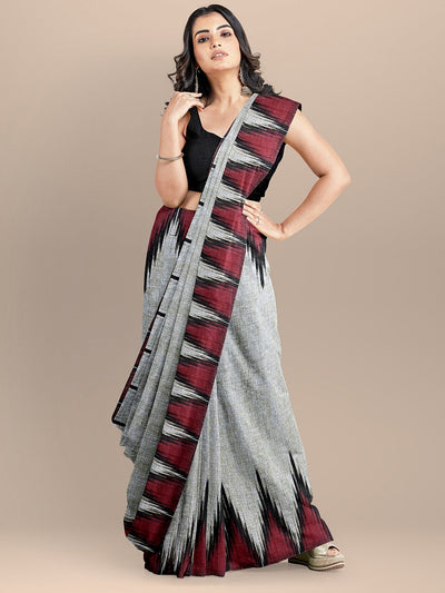 Grey Color Pure Cotton Solid Sambalpuri Handloom Saree