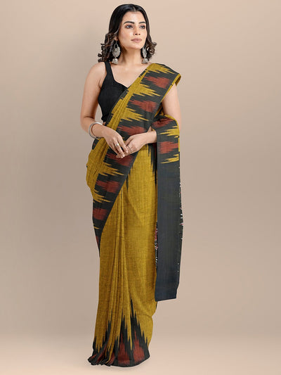 Yellow Color Pure Cotton Solid Sambhalpuri Handloom Saree