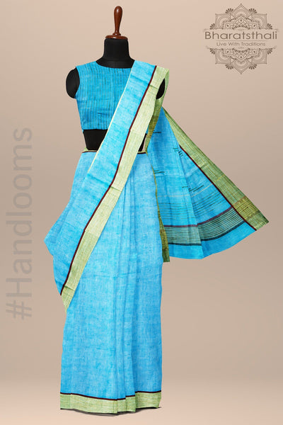 Dodger Blue Pure linen Handloom Saree
