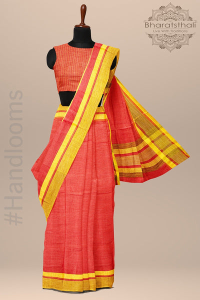 Squash Orange And Yellow Pure linen Handloom Saree