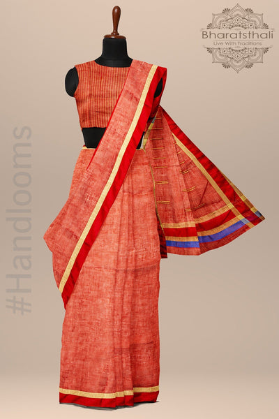 Red Pure linen Handloom Saree