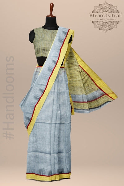 Porpoise Grey Pure linen Handloom Saree