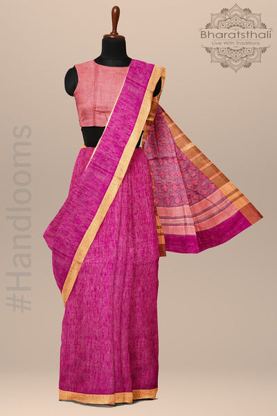 Hotpink With Zari Pallu And Border Chanderi Cotton Saree