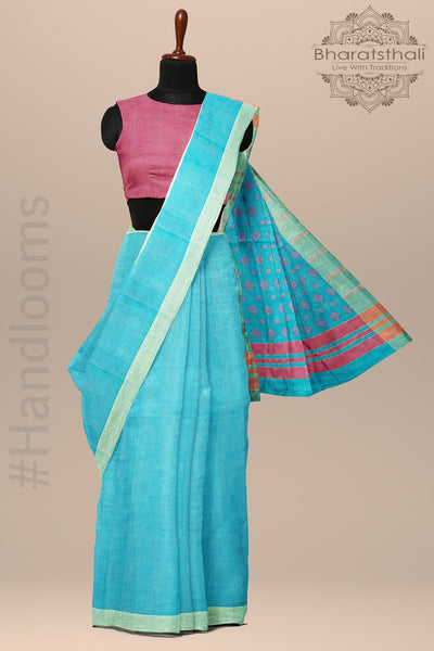 Sky blue With Pink Pallu Chanderi Cotton Saree