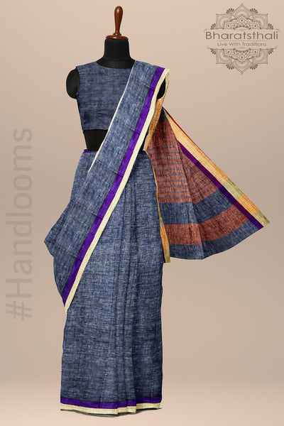 Denim Blue Pure linen Handloom Saree