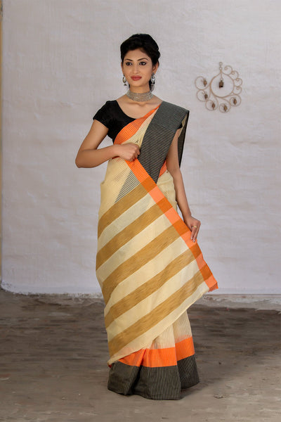 Grey And Banana Yellow Pure Kota Cotton Handloom Saree