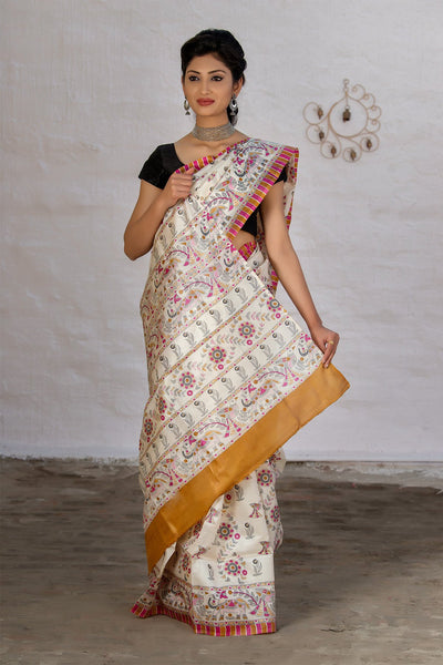 White Tussar Saree With Multicolor Peacock Prints