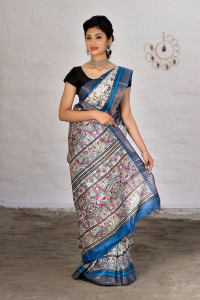 White Tussar Saree With Blue Border And Peacock Prints