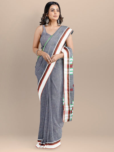Blue Color Pure Linen Woven Design Bhagalpuri Saree