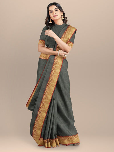 Grey Color Chanderi Saree with Golden Zari Border