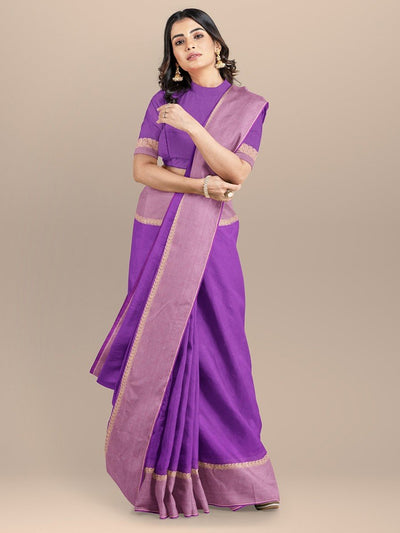Purple Color Pure South Cotton Handloom Saree