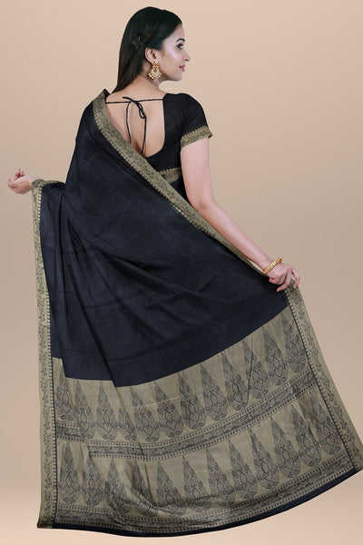 Black Saree with Golden Pallu South Cotton Handloom Kovai Cora Saree