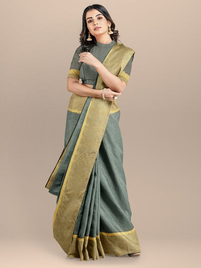 Grey Color Pure South Cotton Handloom Saree with Golden Zari Border