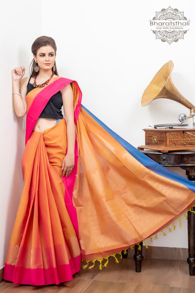Mustard Yellow Pink Pure South Cotton Handloom Kovaicora Karee