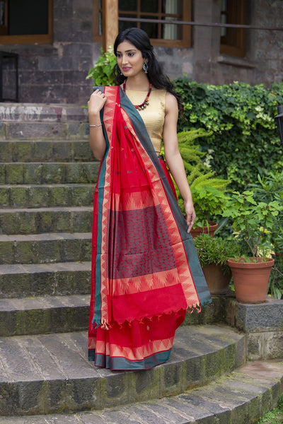 Pure South Cotton Red And Green With Multi Color Prints Handloom Kovai Cora Saree