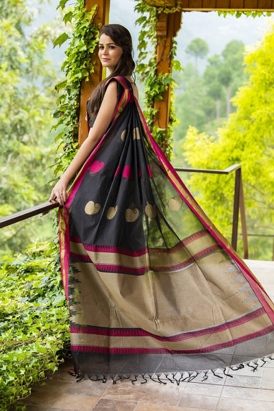Black Pure South Cotton Handloom Kovai Cora Saree