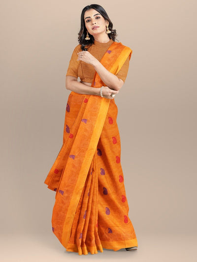 Orange Color Pure South cotton Handloom Saree