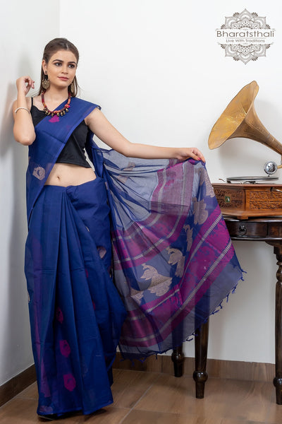 Violet Purple Design Blouse Pure South Cotton Handloom Kovaikora Saree