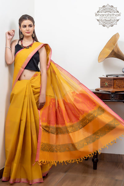 Lime Green , Orange Blouse And Orange Pallu Pure South Cotton Handloom Kovaikora Saree