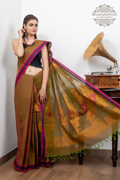 Reddish- Brown And Purple Border Pure South Cotton Handloom Kovaikora Saree