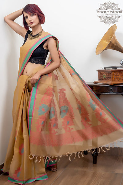 Olive Green Pink And Green Border With Booti Pure South Cotton Handloom Kovaikora Saree