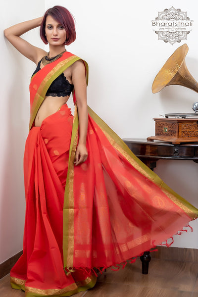 Red With Green  Booti And Rich Pallu Pure South Cotton Handloom Kovaikora Saree