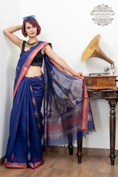 Purple Pure South Cotton Handloom With Booti Kovaikora Saree