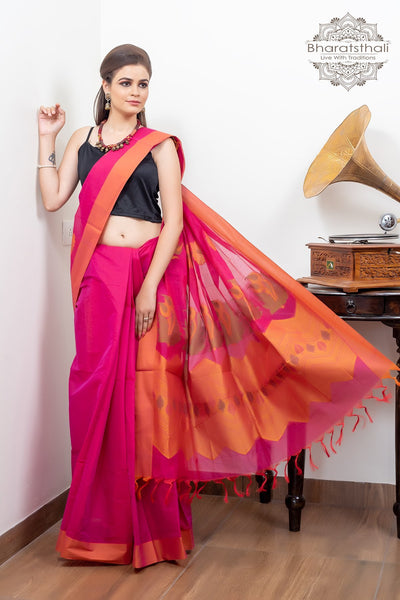 Magenta Pink With Rust Border Design Blouse Pure South Cotton Handloom Kovaikora Saree