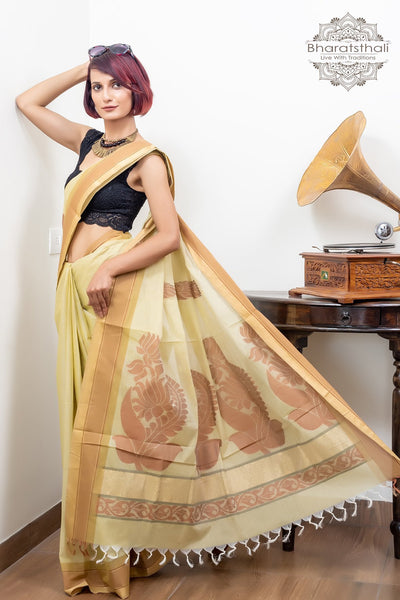 Banana Yellow With Zari Border Pure South Cotton Handloom Kovaikora Saree