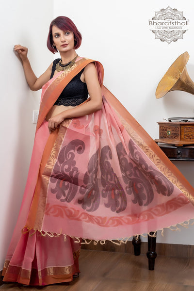 Rose Pink Pure South Cotton With Zari Border With Booti Handloom Kovaikora Saree