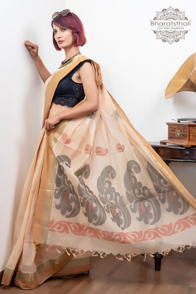Beige Zari Border With Booti Pure South Cotton Handloom Kovaikora Saree