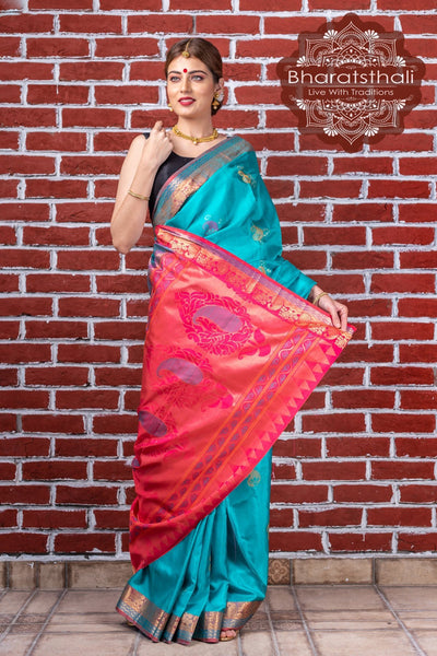 Aquarium Green With Hot Pink Border Kanjivaram Soft Silk Saree