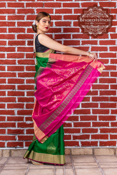 Emerald Green With  Pink Border Kanjivaram Soft Silk Saree