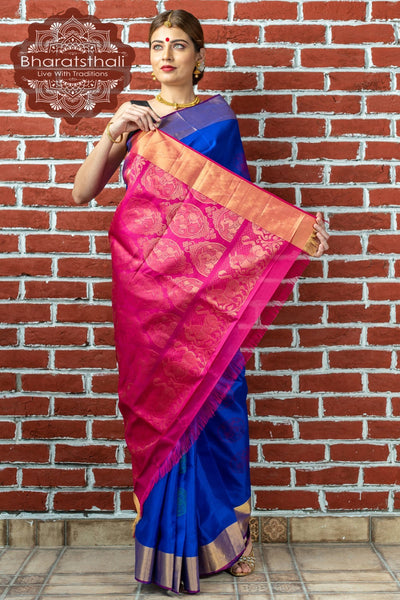Purple With Magenta Border Kanjivaram Soft Silk Saree
