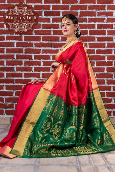Maroon With Basil Green Pallu Pure Kanjivaram Soft Silk Saree