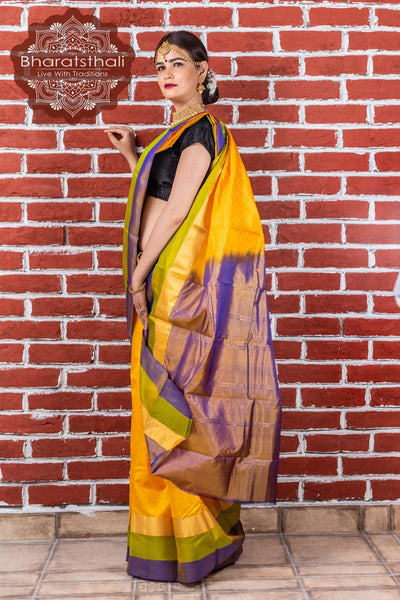 Chrome Yellow with Purple & Green Border Kanjivaram Silk Saree