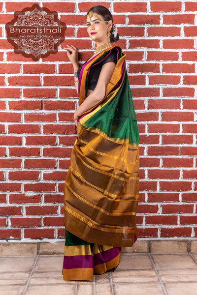 Sacramento Green With Purple & Golden Border Kanjivaram Silk Saree