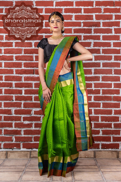 Ocado Green With Blue Border Kanjivaram Silk Saree