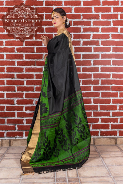 Black With Green and Golden Border Kanjivaram Soft Silk Saree