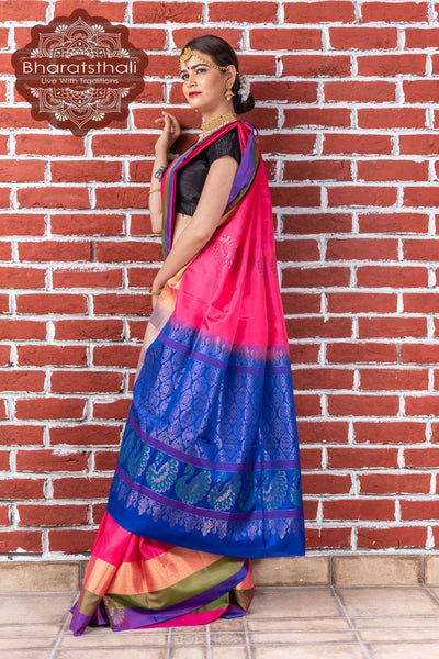 Punch Pink With Blue Pallu Pure Kanjivaram Soft Silk Saree