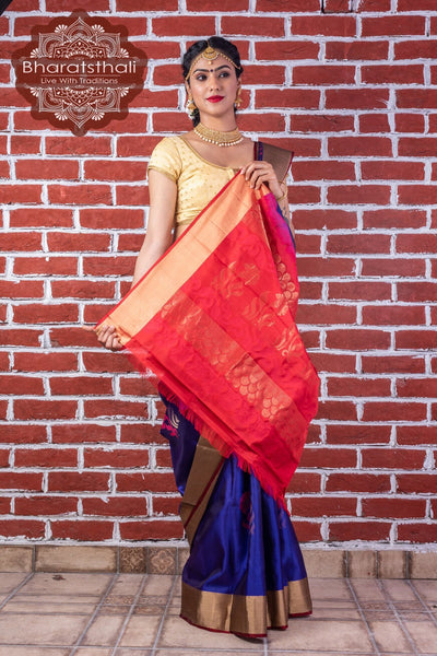 Purple With Maroon Border Pure Kanjivaram Soft Silk Saree