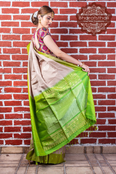 Linen Cream With Lime Green Pallu Pure Kanjivaram Soft Silk Saree