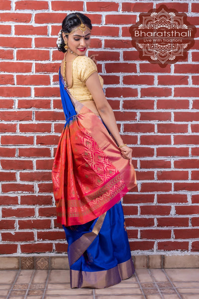 Blue With Pink Pallu Pure Kanjivaram Pattu Soft Silk Saree