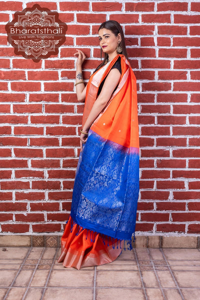 Carrot Orange With Purple Pallu Pure Kanjivaram Soft Silk Saree